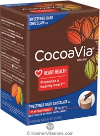 CocoaVia Kosher Daily Cocoa Extract Supplement Sweetened Dark Chocolate 375 Mg NEW & IMPROVED 30 Packets