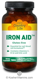 Country Life Kosher Iron Aid 15 mg 60 Tablets