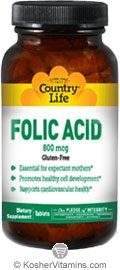 Country Life Kosher Folic Acid 800 Mcg 100 Tablets