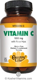 Country Life Kosher Buffered Vitamin C  1000 Mg with Bioflavonoids 50 Tablets