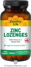 Country Life Kosher Zinc Lozenges 23 Mg with Vitamin C Cherry Flavor 60 Lozenges