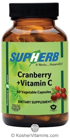 SupHerb Kosher Cranberry + Vitamin C 60 Vegetarian Capsules