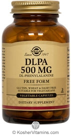Solgar Kosher DLPA (DL-phenylalanine) 500 mg 100 Vegetable Capsules