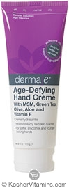 Derma E Age-Defying Hand Creme with MSM, Green Tea, Olive, Aloe & Vitamin E 4 OZ