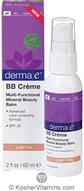 Derma E Evenly Radient BB Creme SPF 25  Mult-functional Mineral Beauty Balm Light Tint 2 OZ
