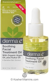 Derma E Soothing Facial Treatment Oil with Organic Argan plus Kukui Oil 1 OZ