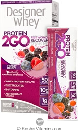 Designer Whey Kosher Protein 2GO Post Workout Recovery Drink Mix Mixed Berry Dairy  5 Packets