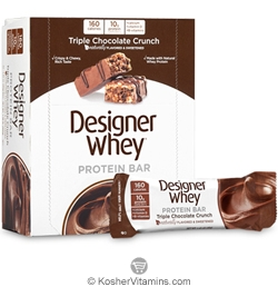 Designer Whey Kosher Protein Bar Triple Chocolate Crunch Dairy 12 Bars