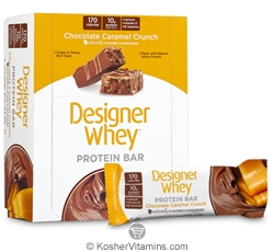 Designer Whey Kosher Protein Bar Chocolate Caramel Crunch  Dairy 12 Bars
