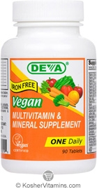 Deva Nutrition Vegan Multivitamin & Mineral Supplement Iron Free Not Certified Kosher 90 Tablets