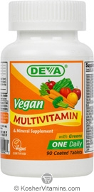 Deva Nutrition Vegan Multivitamin & Mineral Supplement Not Certified Kosher 90 Tablets