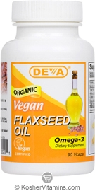 Deva Nutrition Organic Vegan Flaxseed Oil Omega-3 Not Certified Kosher 90 Vegan Capsules