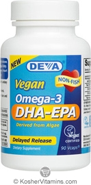 Deva Nutrition Vegan Omega 3 DHA-EPA Delayed Release  Not Certified Kosher 90 Vegan Capsules