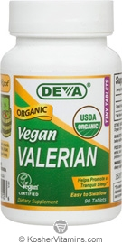 Deva Nutrition Organic Vegan Valerian 300 mg Not Certified Kosher 90 Tablets