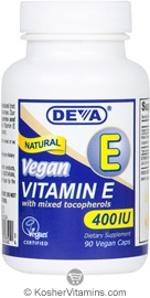 Deva Nutrition Vegan Vitamin E With Mixed Tocopherols 400 IU Not Certified Kosher 90 Vegan Capsules
