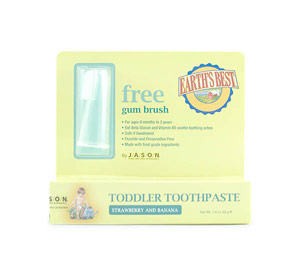 Earth's Best Kosher Toddler Toothpaste Strawberry Banana  Free Gum Brush Included. 1.6 oz