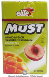 Elite Kosher Must Sugar Free Chewing Gum Mango & Peach Flavor 20 Pieces