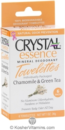 Crystal Essence Mineral Deodorant Towelettes Chamomile & Green Tea 6 Packets