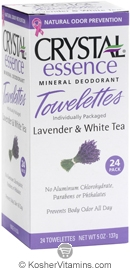 Crystal Essence Mineral Deodorant Towelettes Lavender & White Tea 24 Packets