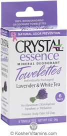 Crystal Essence Mineral Deodorant Towelettes Lavender & White Tea 6 Packets
