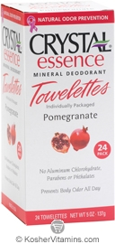 Crystal Essence Mineral Deodorant Towelettes Pomegranate 24 Packets