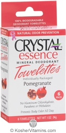 Crystal Essence Mineral Deodorant Towelettes Pomegranate 6 Packets