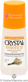 Crystal Essence Mineral Roll-On Deodorant Chamomile & Green Tea 1 Stick
