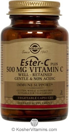 Solgar Kosher Ester-C Plus 500 Mg Vitamin C 250 Vegetable Capsules