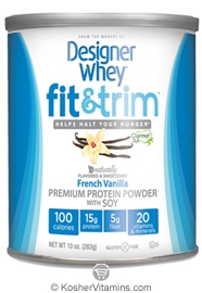 Designer Whey Kosher Fit and Trim Protein Powder French Vanilla 10 OZ