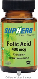 SupHerb Kosher Folic Acid 400 mcg 120 Tablets