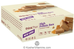 ThinkThin Kosher High Protein Bar Caramel Fudge Dairy 10 Bars