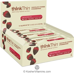 ThinkThin Kosher Protein Bar Chocolate Covered Strawberries Dairy 10 Bars