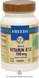 Freeda Kosher Vitamin B12 100 Mcg 100 Lozenges