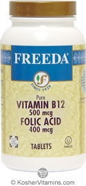 Freeda Kosher Vitamin B12 & Folic Acid 500 Mcg/400 Mcg 100 TAB