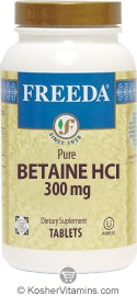 Freeda Kosher Betaine HCI 300 Mg 250 Tablets