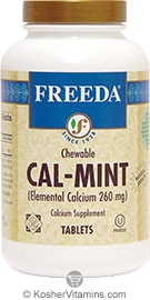 Freeda Kosher Cal-Mint Elemental Calcium Chewable 100 Tablets