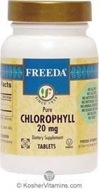Freeda Kosher Chlorophyll 20 Mg 100 Tablets