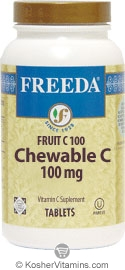 Freeda Kosher Fruit C (Vitamin C) 100 Mg Chewable Orange Flavor 250 Tablets