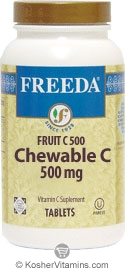 Freeda Kosher Fruit C (Vitamin C) 500 Mg Chewable Orange Flavor 100 Tablets