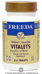 Freeda Kosher Vitalets (Children's Multi Vitamin) Chewable Raspberry Flavor 250 Tablets