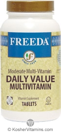 Freeda Kosher Daily Value Moderate Multivitamin 100 Tablets