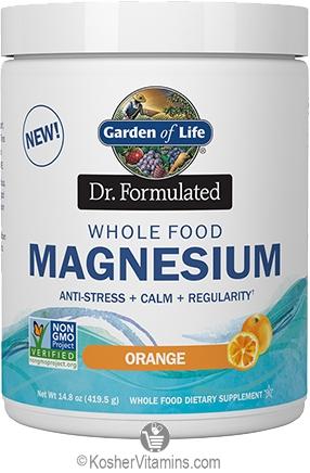 Garden Of Life Kosher Dr Formulated Whole Food Magnesium Anti Stress Calm Regularity Orange Flavor 14 8 Oz Koshervitamins Com