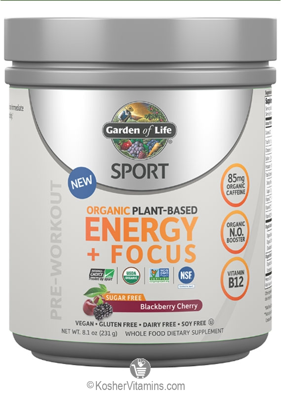 Garden of life kosher sport organic plant based energy focus sugar free blackberry cherry 8 1 for Garden of life energy and focus