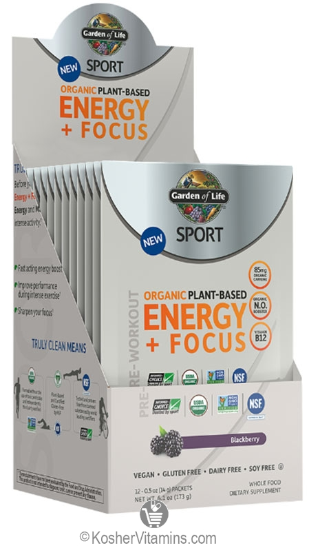 Garden of life kosher sport pre workout energy focus blackberry 12 packets for Garden of life energy and focus