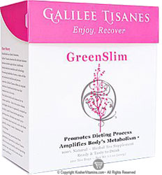 Galilee Tisanes Kosher Green Slim (Promotes Dieting Process) 100 Tea Bags