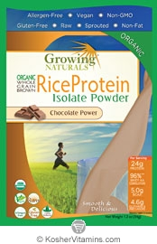 Growing Naturals Kosher Organic Whole Grain Brown Rice Protein Isolate Powder Chocolate 12 Packets