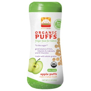 Happy Baby Kosher Organic Puffs Apple 2.1 OZ