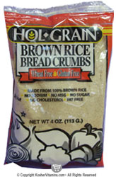 Hol-Grain Kosher Brown Rice Bread Crumbes Wheat/Gluten Free 4 OZ