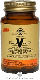 Solgar Kosher Formula VM-75 Iron Free Multiple Vitamins with Chelated Minerals 180 Tablets