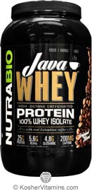 NutraBio Kosher Java Whey 100% Whey Protein Isolate High Caffeine 200 mg with Real Colombian Coffee Dairy 2 LB